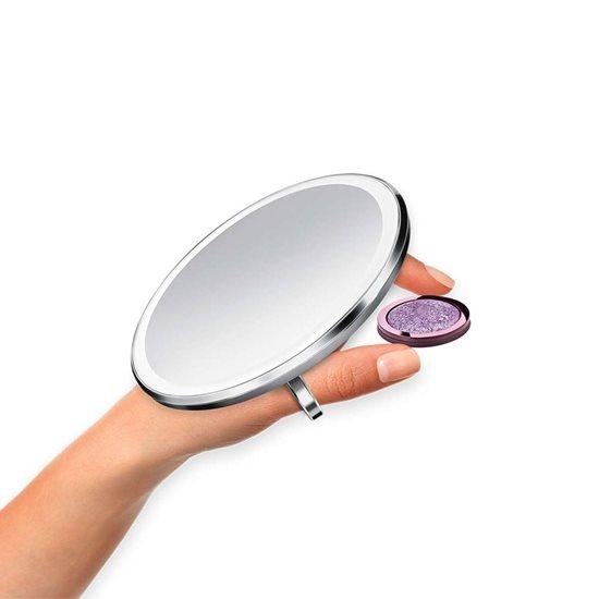 Oglinda cosmetica de buzunar cu senzor, 10,4 cm, Brushed - simplehuman